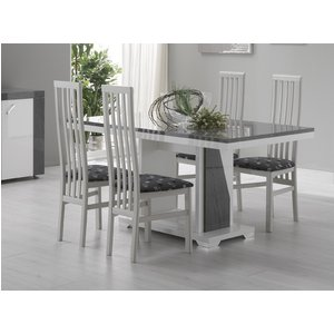 Sicily Designs Delia White And Grey Italian Dining Table, White and Grey Stone