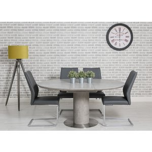 Furniture Now Delta Concrete Round Extending Dining Table And 4 Seattle Grey Chairs