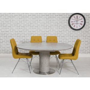 Furniture Now Delta Concrete Round Extending Dining Table And 4 Tampa Ochre Chairs