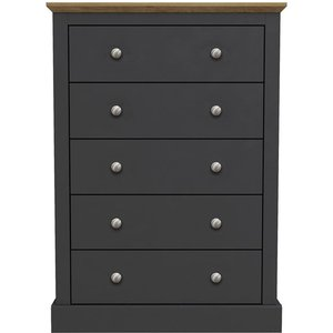 Cfs Value Devon 5 Drawer Chest - Charcoal And Oak Effect Top, Charcoal