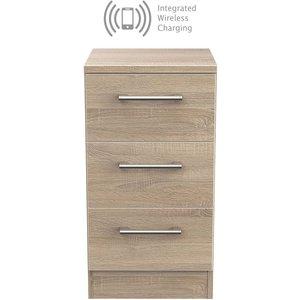 Welcome Furniture Devon Bardolino 3 Drawer Bedside Cabinet With Integrated Wireless Charging, Bardolino