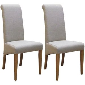 Devonshire Pine and Oak Devonshire New Oak Beige Fabric Dining Chair (pair)