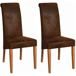 Devonshire Pine and Oak Devonshire New Oak Bison Faux Leather Dining Chair (pair)