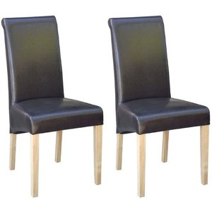 Devonshire Pine and Oak Devonshire New Oak Brown Faux Leather Dining Chair (pair)
