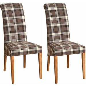 Devonshire Pine and Oak Devonshire New Oak Brown Plaid Fabric Dining Chair (pair)