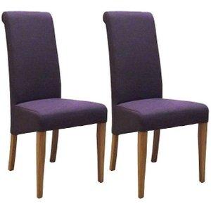 Devonshire Pine and Oak Devonshire New Oak Mauve Fabric Dining Chair (pair)