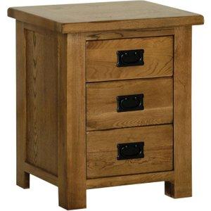 Devonshire Pine And Oak Devonshire Rustic Oak Bedside Cabinet, Dark Brown Oak