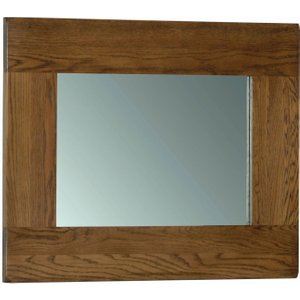 Devonshire Pine and Oak Devonshire Rustic Oak Rectangular Wall Mirror - 75cm X 60cm, Dark Brown Oak