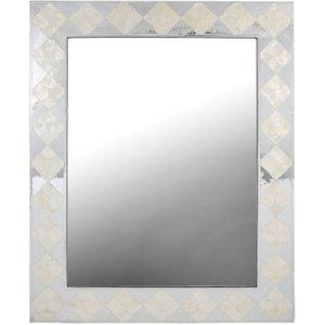 Deco Home Diamond Rectangular Wall Mirror - White And Silver 85cm X 105cm, White
