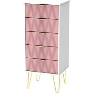 Welcome Furniture Diamond Tall Bedside Cabinet With Hairpin Legs - Kobe Pink And White, Kobe Pink and White