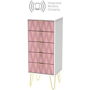 Welcome Furniture Diamond Tall Bedside Cabinet With Hairpin Legs And Integrated Wireless Charging - Kobe Pin, Kobe Pink and White