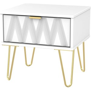 Welcome Furniture Diamond White 1 Drawer Bedside Cabinet With Hairpin Legs, White