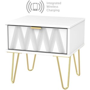 Welcome Furniture Diamond White 1 Drawer Bedside Cabinet With Hairpin Legs And Integrated Wireless Charging, White