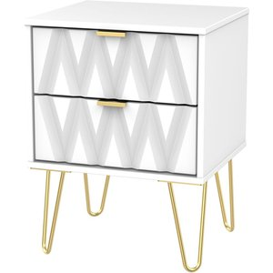 Welcome Furniture Diamond White 2 Drawer Bedside Cabinet With Hairpin Legs, White