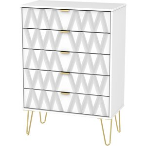 Welcome Furniture Diamond White 5 Drawer Chest With Hairpin Legs, White