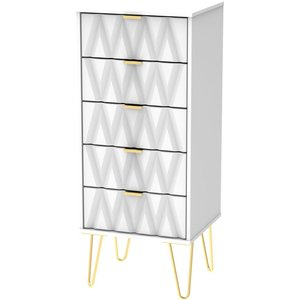 Welcome Furniture Diamond White Tall Bedside Cabinet With Hairpin Legs, White