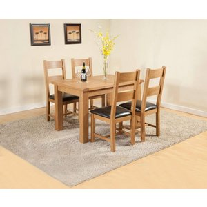 The Oak House Dorset Oak Extending Dining Table And 4 Chairs, Rustic Hand Waxed
