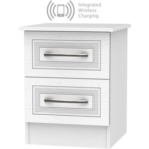 Welcome Furniture Dorset White 2 Drawer Bedside Cabinet With Integrated Wireless Charging, White