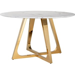 Richmond Interiors Dynasty White Marble And Gold Round Dining Table - 130cm, White and Gold