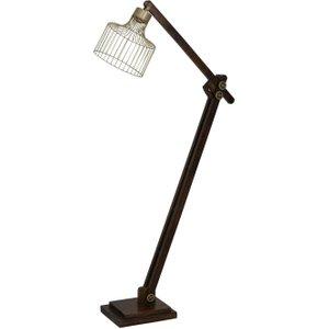 Light & Living Ebke Floor Lamp - Antique Bronze And Brown Wood, Bronze