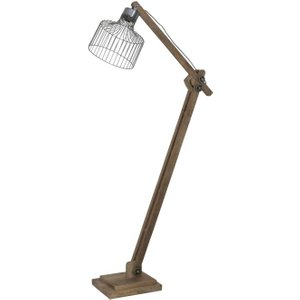 Light & Living Ebke Floor Lamp - Zinc And Natural Wood, Silver