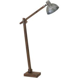 Light & Living Ekerd Wood Weather Barn And Vintage Silver Floor Lamp, Silver