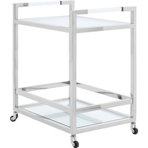 Luxe Interiors Envi Glass And Chrome 2 Tiers Butler Trolley