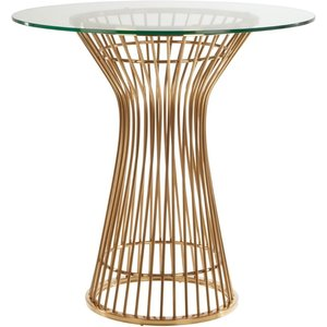 Luxe Interiors Envi Glass And Gold Round Dining Table, Gold