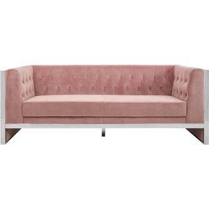Luxe Interiors Envi Pink Velvet 3 Seater Sofa, Pink