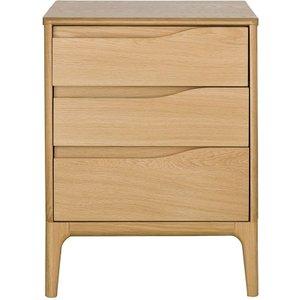 Ercol Rimini Oak 3 Drawer Wide Bedside Cabinet, Clear Matt Lacquer