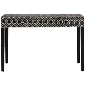 Luxe Interiors Esher Black And Cream Mother Of Pearl Console Table, Black and Cream