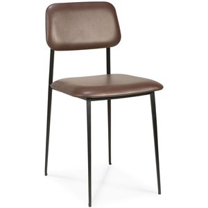 Ethnicraft Dc Chocolate Leather Dining Chair (pair), Chocolate and Black