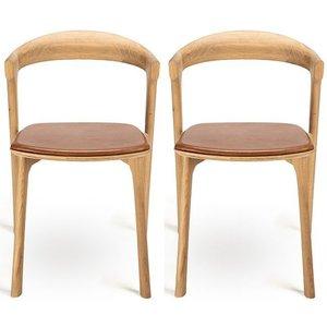 Ethnicraft Oak Bok Cognac Leather Dining Chair (pair), Camel