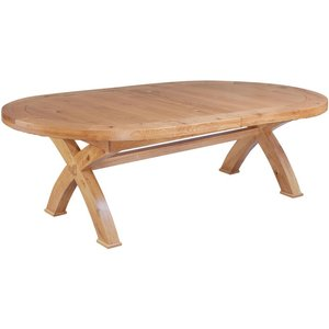 The Oak House Fairford Oak Oval Cross Leg Extending Dining Table, Rustic