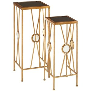Premier Housewares Faiza Tall End Table (set Of 2) Gold Metal And Black Glass, Gold