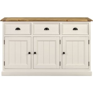 Indian Furniture Company Farmhouse Painted 3 Door Sideboard