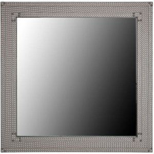 Deco Home Fermo Light Taupe Faux Leather Square Wall Mirror - 100cm X 100cm, Light Taupe