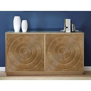 Glimmer Furniture Filton Gold Embossed 4 Door Sideboard With Mirrored Top