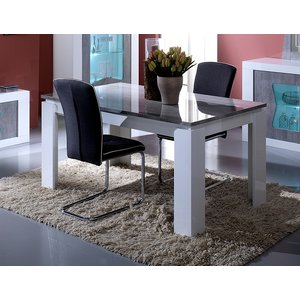 Sicily Designs Flavia White And Grey Italian Extending Dining Table, White and Concrete Grey