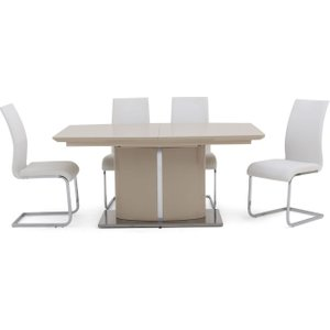 Fairmont Flavio Cream High Gloss Butterfly Extending Dining Table 4 Paolo White Chairs, Cream High Gloss