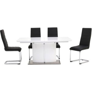 Fairmont Flavio White High Gloss Butterfly Extending Dining Table And 4 Hugo Black Chairs, White High Gloss