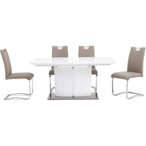 Fairmont Flavio White High Gloss Butterfly Extending Dining Table And 4 Gabi Taupe Chairs, White High Gloss