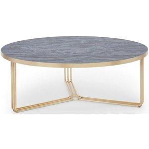 Space London Floriston Dark Oak Laminate And Brass Brushed Large Round Coffee Table