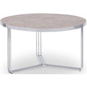 Space London Floriston Dark Stone Laminate And Chrome Round Coffee Table