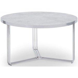 Space London Floriston Pale Stone Laminate And Chrome Round Coffee Table