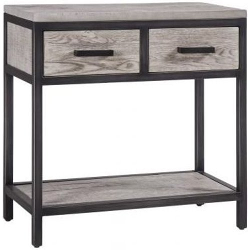 Besp Oak Forge Weathered Oak Industrial 2 Drawer Hall Table