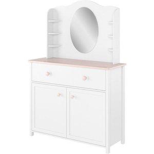 Arte Nova Freya White Desk Hutch With Mirror, White Matt