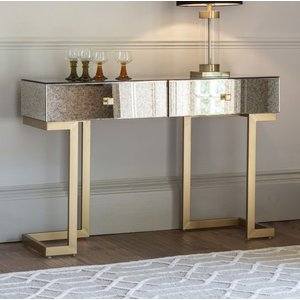 Gallery Direct Gallery Amberley Aged Mirrored 2 Drawer Console Table