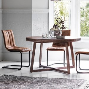 Gallery Direct Gallery Boho Retreat Chocolate Round Dining Table And 4 Edington Brown Chair, Chocolate and Brown