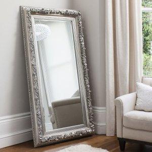 Gallery Direct Antwerp Silver Leaner Rectangular Mirror - 93cm X 179.5cm, Silver